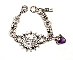 'Rainy Skies' Collection .925 Sterling Silver Plated Fashionable Bracelet Created by Amaro Jewelry Studio Decorated with Amethyst and Swarovski Crystals