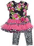 Rare Editions Girls 2-6X Floral Zebra Tutu Legging Set