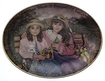 c1997 Seasons of Sharing Sisters for Life plate Sisters Share a Bouquet of Flowers Chantal Poulin - CP1589