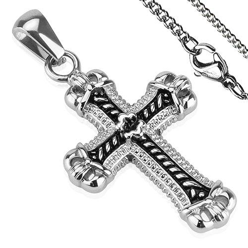 Ciondolo Cross Tribal nodo Croce Acciaio inox nero argento collana BlackAmazement Gothic, acciaio inossidabile, colore: argento