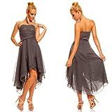 Knielanges Bandeau Kleid Chiffon Ballkleid Abendkleid Cocktailkleid Festkleid L (38) Grau