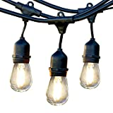 Brightech Ambience Pro LED Outdoor Weatherproof Commercial Grade String Lights, WeatherTite Technology - 2-watt LED Bulbs Included, 48 Foot String