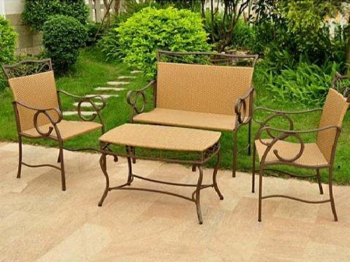 International Caravan Valencia 4 Piece Steel and Resin Wicker Patio Loveseat Set, 4106-S4-HY, Seats 4, Brown photo