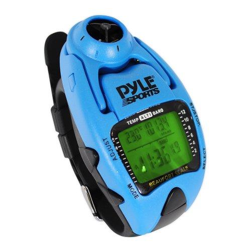 Yacht Timer-Uhr von Pyle; misst die Wind-Temperatur und -Geschwindigkeit, Höhenmesser, Barometer, Kompass, Chronograph mit 10-Runden-Speicher (blau).