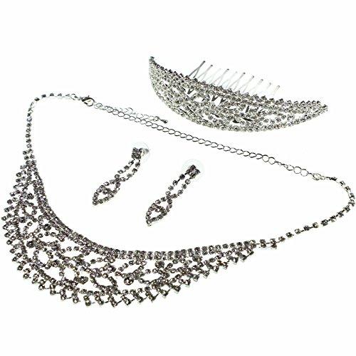 Set-de-regalo-de-Tiara-gargantilla-y-aretes-de-Circona-Cbica-transparente-para-damas-por-Kurtzy-TM