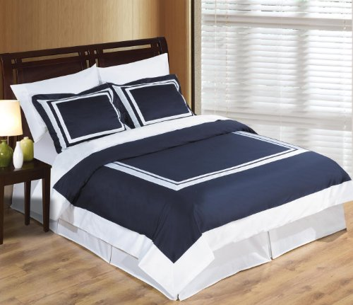 Hotel Navy And White 3Pc Full / Queen Comforter Cover (Duvet-Cover-Set) 100 % Egyptian Cotton 300 Tc front-1058802