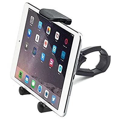 ChargerCity HDX2 Strap-Lock Mount for Bicycle Treadmill Exercise Bike Boat Helm Handlebar w/ Tablet & Smartphone Holder for Apple iPad Mini Air PRO iPhone Plus Samsung Galaxy Tab S7 Edge Note 7 LG G5