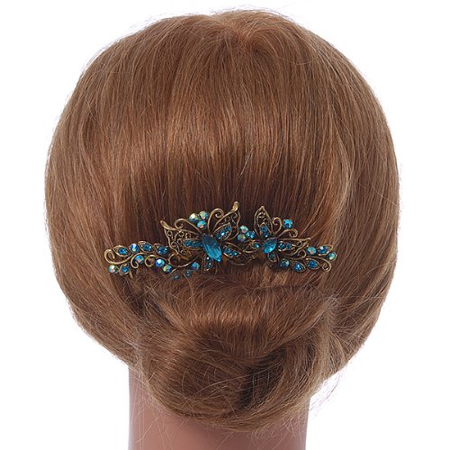 Vintage Inspired Teal Blue Swarovski Crystal 'Butterfly' Side Hair Comb In Antique Gold Tone - 105mm 2