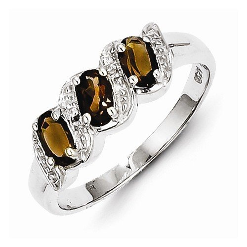 925 Sterling Silver Colored W/ White Gold Rhodium Plated Brown Smokey Quartz & Diamond Engagement Ring (.01 Cttw.) (2Mm)