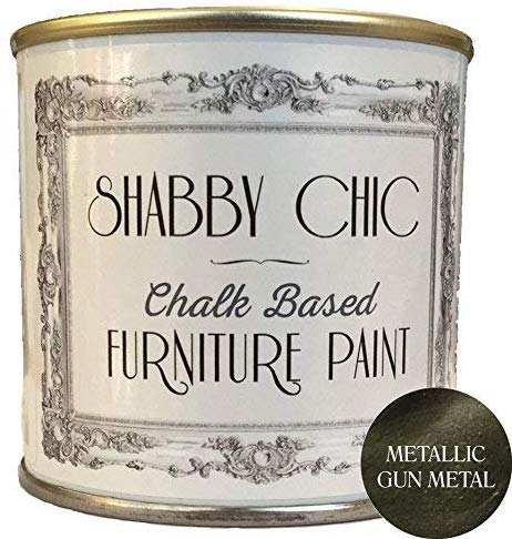 Shabby Chic Chalk Based Furniture Paint - Metallic Gun Metal 250ml - Chalked, Use on Wood, Stone, Brick, Metal , Plaster or Plastic, No Primer Needed, Made in the UK (Color: Metallic Gun Metal, Tamaño: 250ml)