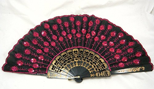 HUSOAR Peacock Pattern Sequin Fabric Hand Fan Decorative Hot Pink Color