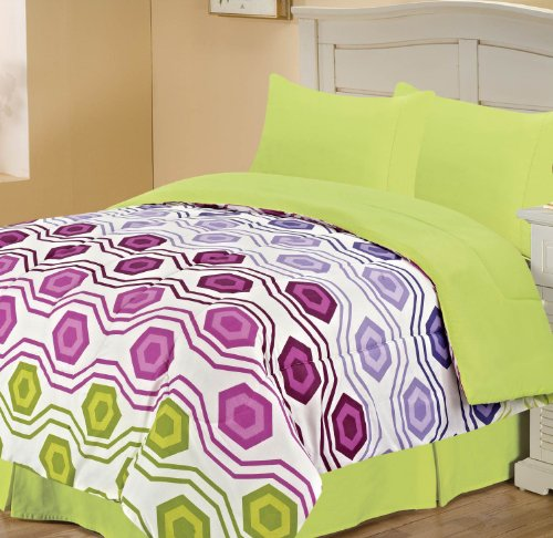 Fresh  Set Geometric Design Chic Home Octagon Back to Campus Reversible Comforter