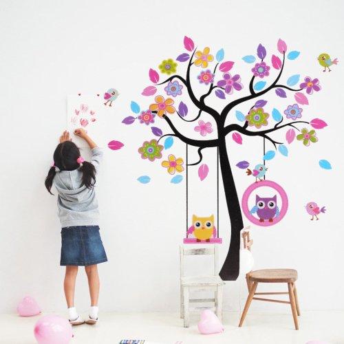 Sticker mural autocollant amovible chouette fleur arbre for Autocollant mural arbre