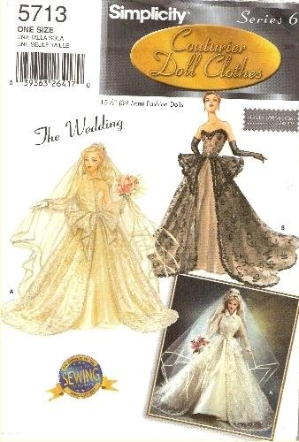 Simplicity 5713 15.5-Inch Fashion Doll Clothes / The Wedding 2003