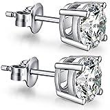 CZ Diamond Stud Earrings Sterling Silver Round Cut Cubic Zirconia Stud Earrings,Unique Fashion Stud Earrings,Simple Casual Stud Earrings 7mm Nickel Free,Hypoallergenic Earrings for Women