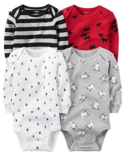 Carter's Baby Boys 4-pack Long-sleeve Bodysuits (18 months, winter)