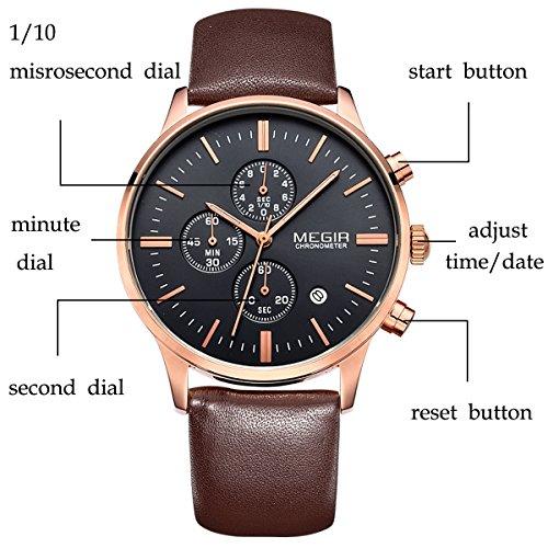 Megir Mens Vintage Chronograph Luminous Brown Leather Quartz Wrist Watches 3