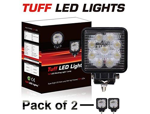 """Tuff Led Lights 2 X 4"""" Inch Square 27Watt Led Work Lamp Light 1550 Lumen, Off Road, Atv, Utv, Polaris Ranger"""