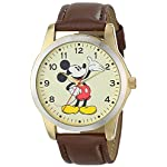 Men's Mickey Mouse Two Tone Case Brown Strap Watch