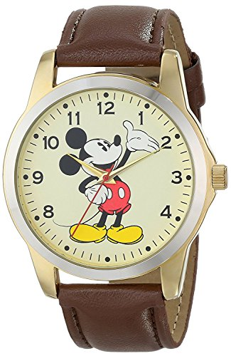 Men's Mickey Mouse Two Tone Case Brown Strap Watch 0