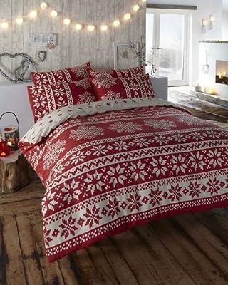 Double Size - Duvet Quilt Cover Bed Set - Red Alpine Design