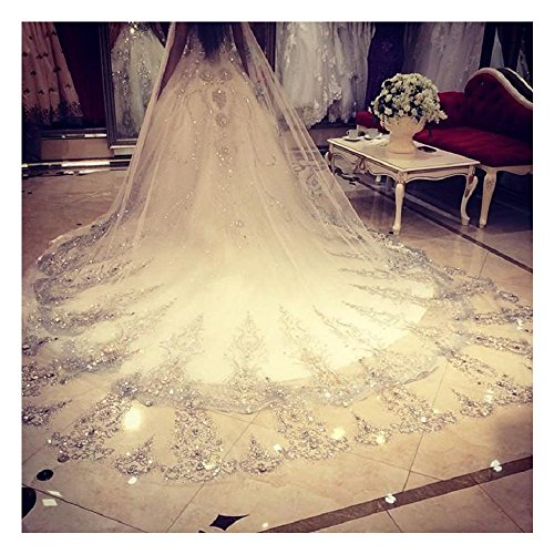 ElieHouse Women's Custom Made Sequinss Chapel Wedding Bridal Veil With Free Comb White E63WT