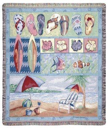 "Tropical Flip Flops Beach Umbrella Fish Tapestry Throw Blanket 50"" X 60"""