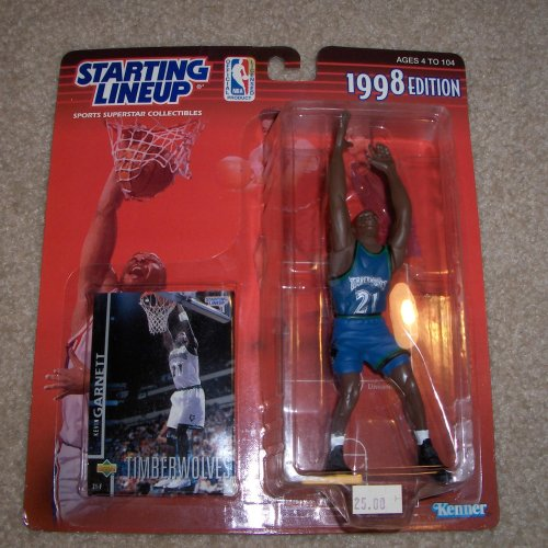 1998 - Kenner - Starting Lineup - NBA - Kevin Garnett #21 - Minnesota Timberwolves - Vintage Action Figure - w/ Upper Deck Trading Card - Limited Edition - Collectible