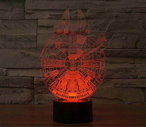 SmartEra® 3D Optical Illusion Star Wars serie, Millennium Falcon Modello, 7 cambiamento di colore pulsante tattile USB scrittorio LED lampada da tavolo luce