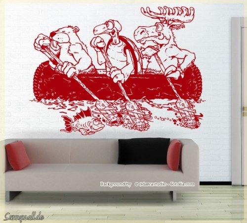 adesivo-da-parete-canoa-barca-alces-tartaruga-in-flanella-animali-marrone-rossiccio-rosso-scuro