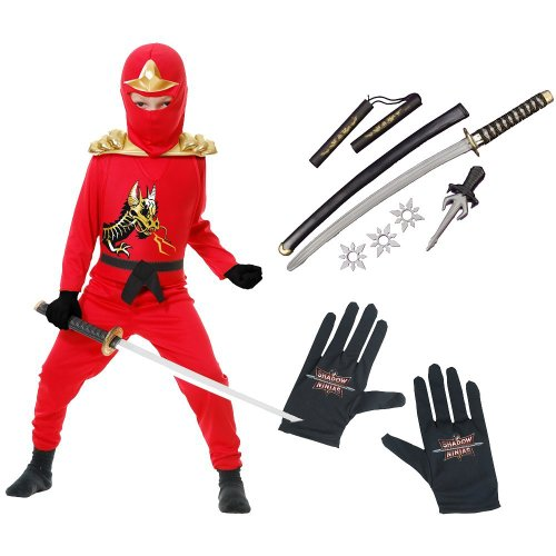 Red Ninja Avengers Series II Child Costume with Gloves and Ninja Weapon Kit, L