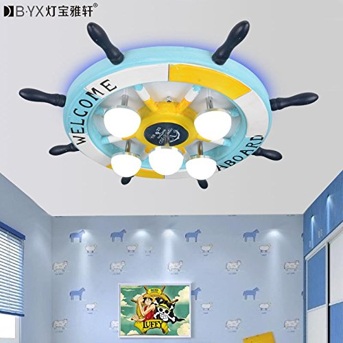BL Modern European style Creative rudder Eastern Mediterranean children's room ceiling lamp with master bedroom boy cartoon lamp 17W-white light LED lamp 450*450*130mm,Ceiling Lamp (110-120V) (Ceiling Fans For Boys Rooms compare prices)