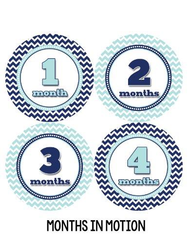 Months in Motion 326 Baby Month Stickers for Newborn Boy Blue Chevron