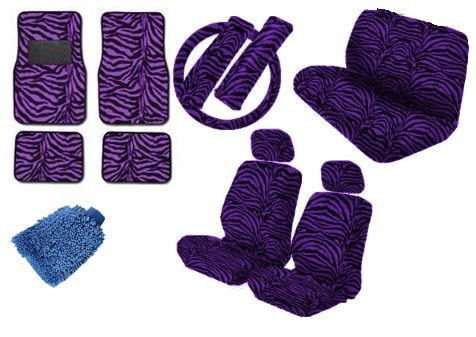 Premium New Style Car Truck Purple Zebra 15pc Low Back Front Seat Covers, Bench Seat Cover with Head Rest, Steering Wheel Cover with Shoulder Pads & 4pc Front & Rear Floor Mats & Bonus Detailing WashMitt (Purple Zebra Back Seat Cover compare prices)