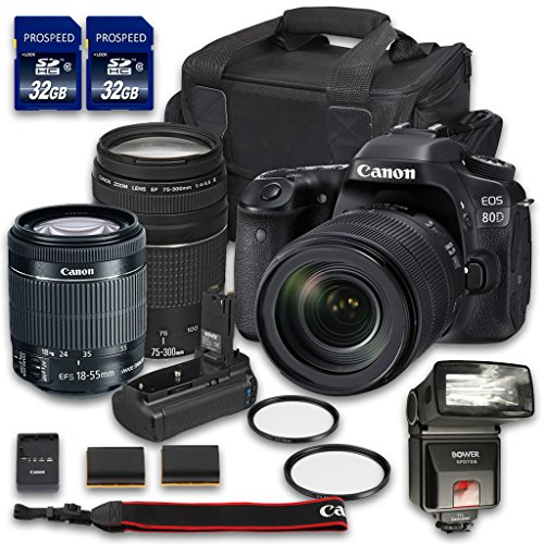 Canon EOS 80D DSLR Camera Bundle with Canon EF-S 18-55mm f/3.5-5.6 IS STM Lens + Canon EF 75-300mm f/4-5.6 III Lens + 2 PC 32 GB Memory Card + Camera Case + Flash + Power Grip (Film Color Chart compare prices)
