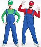 【CosRuRu】スーパーマリオブラザーズマリオ&ルイージ大人用スーパーマリオ仮装ハロウィン仮装 コスチューム衣装 豪華5点セットCR1227(グリーン(ルイージ))