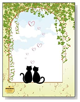 Sweetheart Cats Notebook - A sweet design for the cat lover! Two sweetheart cat silhouettes sitting in an open window draped with ivy create an engaging cover design for this college ruled notebook.