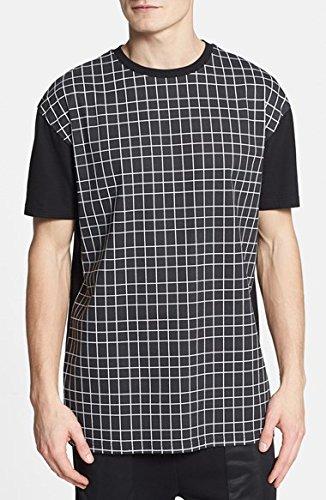 トップマン Topman Grid Print Cotton T-Shirt 男性 メンズ Tシャツ 並行輸入