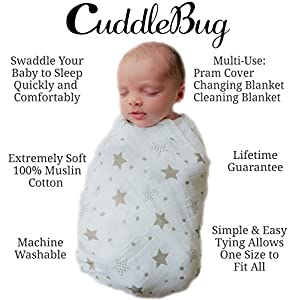 4 Pack Gender Neutral Cotton Muslin Swaddle Blankets by CuddleBug