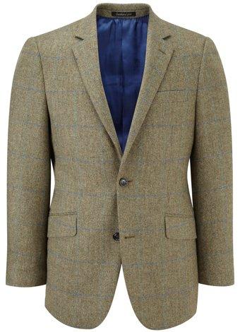 Austin Reed Contemporary Fit Green/Aqua Tweed Jacket LONG MENS 46