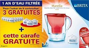 Brita 1006119 Lot 1 An: Pack 9 Cartouches Maxtra + 3 Cartouches + 1 Carafe Marella Rouge