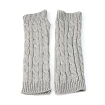 Women Leisure Long Style Braided Knit Arm Winter Warmer Fingerless Gloves - Grey