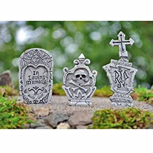 Fiddlehead Fairy Garden Miniature Garden Accessories - 3 Piece Tombstones for Halloween Decor Grave Stones by Naruekrit