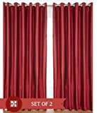 "Home Candy Eyelet Fancy Polyester 2 Piece Door Curtain Set - 84""x48"", Maroon"
