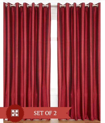 """Home Candy Eyelet Fancy Polyester 2 Piece Door Curtain Set - 84""""x48"""", Maroon"""