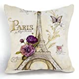 Retro Vintage Bird Cage Flower Lavander Home Pillow Case Cushion Cover 18''
