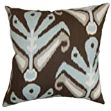 The Pillow Collection Sakon Ikat Pillow, Ikat Aqua Cocoa