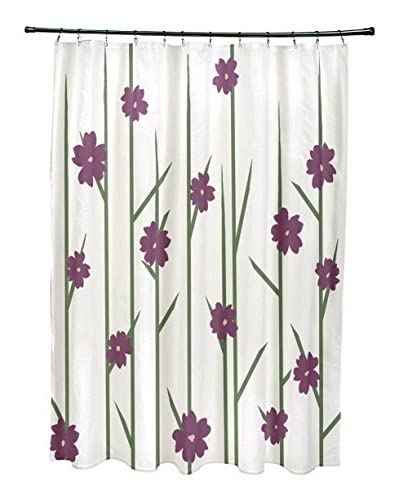 e by design Floral Branches Shower Curtain, Ivory/Purple