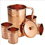 Om Creation Hand Made Pure and best Quality Copper Pitcher, Jug & Tumbler, Glass |Copper Water pitcher with Tumbler for Storing Drinking Water Ayurveda benifits (5, COLOR-9)