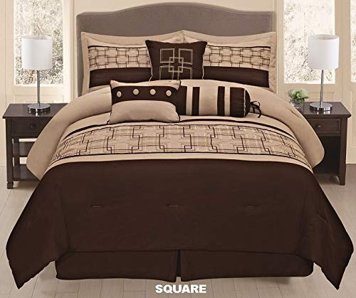 Unique Home 7 Pieces Bedding Comforter Set Retro Flower Borders with Pillow Sham Cushion Bed Skirt Calking